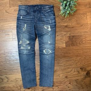 🌿 True Religion Rocco Moto Relaxed Skinny Jeans!